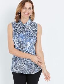 Millers Blue Bandana Print Sleeveless Rayon Shirt