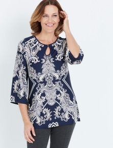 MILLERS 3/4 SLEEVE TOP WITH KEYHOLE