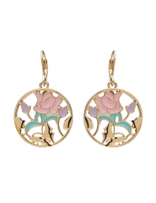 ROUND FLORAL DROP EARRING