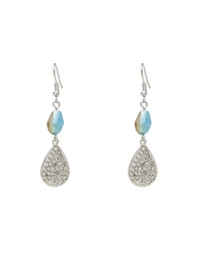 PAVE AND STONE DROP EARRING