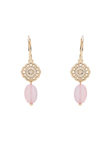 FILIGREE AND STONE DROP EARRING