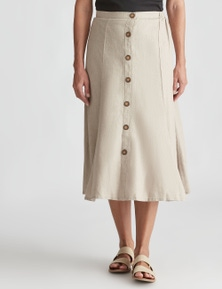 NONI B MIDI ALINE LINEN BUTTON SKIRT