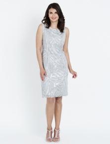 LIZ JORDAN S/LESS EMB SEQUIN LACE DRESS