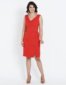 Liz Jordan S/LESS BUTTON DETAIL DRESS