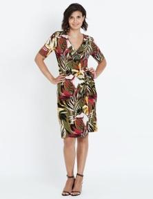Liz Jordan S/S PALM PRINT WRAP DRESS