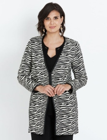 LIZ JORDAN LONG SLEEVE LONGLINE ZEBRA COATIGAN