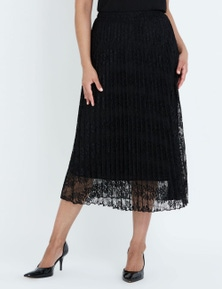 LIZ JORDAN LACE PLEAT MIDI SKIRT