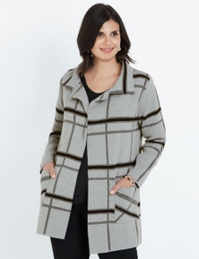 LIZ JORDAN LONG SLEEVE CHECK COATIGAN