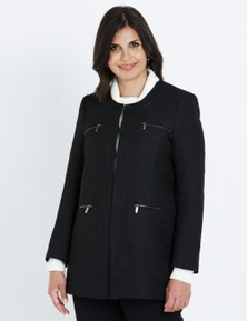LIZ JORDAN ZIP PU TEXTURED COAT