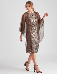 LIZ JORDAN SEQUIN DRESS W CHIFFON SHAWL