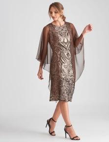 LIZ JORDAN SEQUIN DRESS W CHIFFON SHAWL