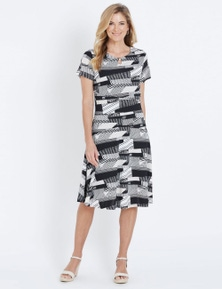 NONI B SHORT SLEEVE MIDI LENGTH PRINT DRESS
