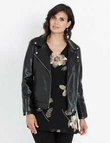 LIZ JORDAN ZIP UP PLEATHER BIKER COAT