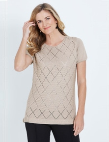 NONI B S/S DIAMOND FRONT TOP