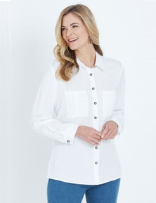 NONI B LONG SLEEVE BUTTON THROUGH LYOCELL SHIRT