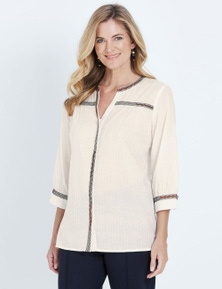 NONI B 3/4 SLEEVE BUTTON THROUGH EMBROIDERED SHIRT
