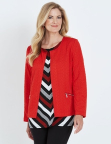 NONI B LONG SLEEVE EDGE-TO-EDGE CABLE TEXTURED JACKET