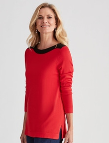 NONI B LONG SLEEVE BOAT NECK ZIP JUMPER