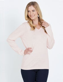NONI B LONG SLEEVE EMBROIDERED SPOT JUMPER