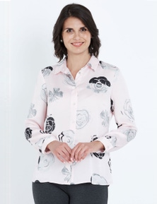 NONI B LONG SLEEVE TEXTURED FLORAL SHIRT