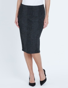 LIZ JORDAN K/L SNAKE PENCIL SKIRT
