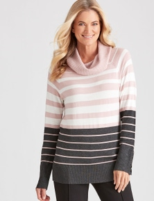 NONI B L/S ROLL NECK STRIPE JUMPER