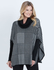 LIZ JORDAN LONG SLEEVE ROLL NECK HOUNDSTOOTH PONCHO