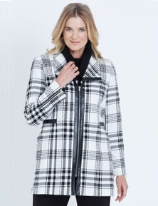 LIZ JORDAN LONG SLEEVE CHECK PU TRIM ZIP COAT