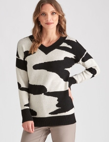 LIZ JORDAN L/S ANIMAL JACQUARD JUMPER