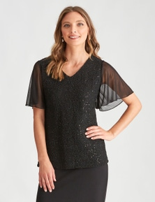 LIZ JORDAN S/S SEQUIN LACE TOP