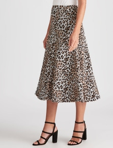 NONI B MIDI ANIMAL PRINT SKIRT