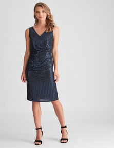 LIZ JORDAN S/LESS WRAP SHIMMER DRESS