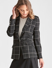 LIZ JORDAN L/S CHECK KNIT JACKET