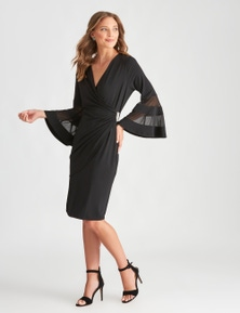 LIZ JORDAN 3/4 SLV DIAMONTE DET WRAP DRESS