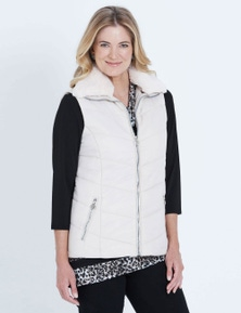 NONI B SLEEVELESS FUR COLLAR PUFFER VEST