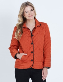 NONI B LONG SLEEVE CONTRAST TRIM QUILTED COAT