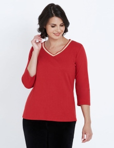 NONI B 3/4 SLEEVE LUREX V NECK TEE