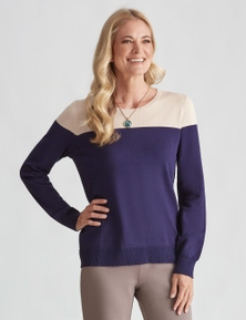 NONI B LONG SLEEVE TWO TONE JUMPER