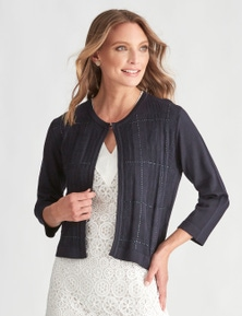 LIZ JORDAN 3/4 SLEEVE SEQUIN CHECK CARDI