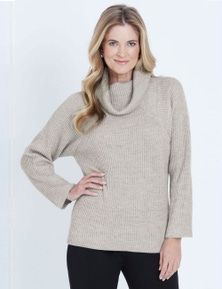 LIZ JORDAN 3/4 SLEEVE ROLL NECK JUMPER
