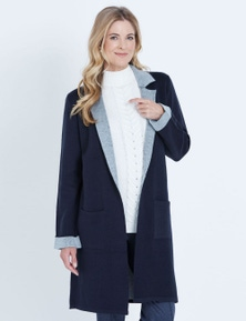 NONI B LONGLINE LAPEL COATIGAN
