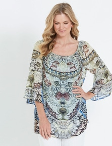 NONI B 3/4 SLEEVE HOTFIX PRINT TOP