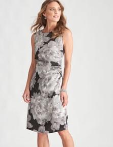 LIZ JORDAN WAIST TUCK FLORAL DRESS