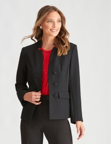 LIZ JORDAN STAR NECK BUTTON JACKET
