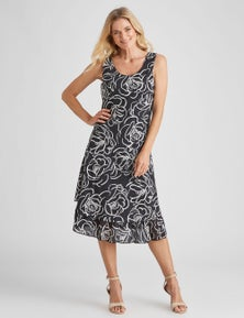 NONI B SLEEVELESS TIERED FLORAL DRESS