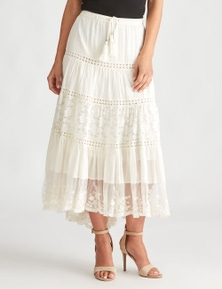 LIZ JORDAN LACE PANEL MAXI SKIRT
