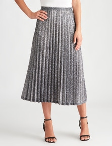 LIZ JORDAN GLITTER LEOPARD PLEAT SKIRT