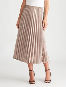 LIZ JORDAN METALLIC PLEAT MIDI SKIRT