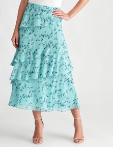 LIZ JORDAN LAYERED FLORAL MIDI SKIRT