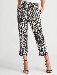 LIZ JORDAN TAPERED LEG ANIMAL PRINT PANT